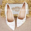 Women's Pumps Stiletto Heel White Leatherette Wedding Shoes #LDB03030912