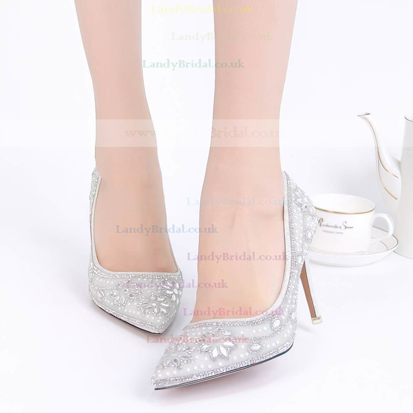 Women's Pumps Stiletto Heel Silver Leatherette Wedding Shoes