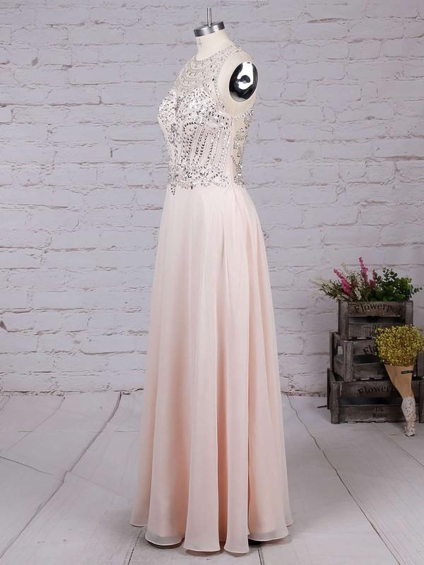 A-line Scoop Neck Chiffon Floor-length Beading Prom Dresses #LDB020100026