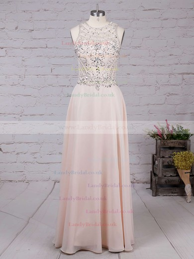A-line Scoop Neck Chiffon Floor-length Beading Prom Dresses #LDB020100026