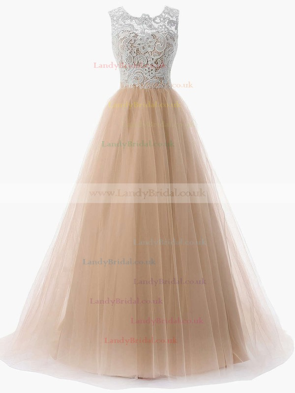 A-line Scoop Neck Lace Tulle Sweep Train Prom Dresses #LDB020101174