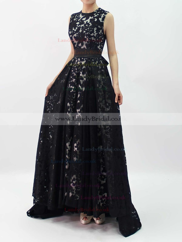 A-line Scoop Neck Lace Asymmetrical Sashes / Ribbons Prom Dresses #LDB020101207