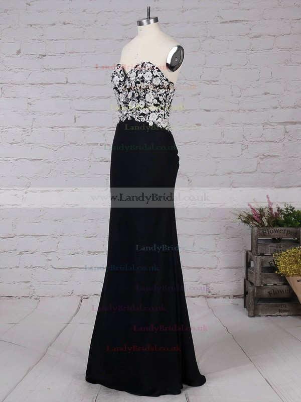 A-line V-neck Lace Chiffon Floor-length Pearl Detailing Prom Dresses #LDB020101388