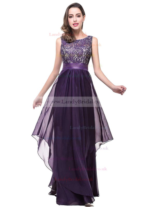 A-line Scoop Neck Lace Chiffon Floor-length Sashes / Ribbons Prom Dresses #LDB020101628