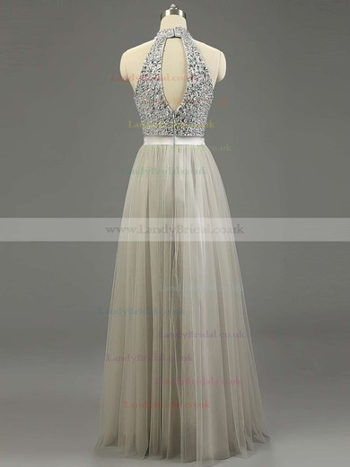 A-line High Neck Tulle Floor-length Beading Prom Dresses #LDB020101636