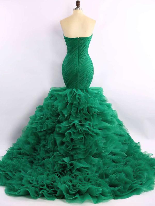Trumpet/Mermaid Sweetheart Organza Court Train Cascading Ruffles Prom Dresses #LDB020101683