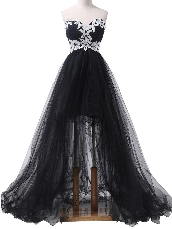 Princess Sweetheart Tulle Asymmetrical Appliques Lace Prom Dresses #LDB020101693