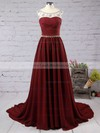 A-line Scoop Neck Chiffon Sweep Train Beading Prom Dresses #LDB020101794