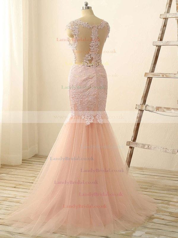 Trumpet/Mermaid Scoop Neck Tulle Floor-length Appliques Lace Prom Dresses #LDB020101832