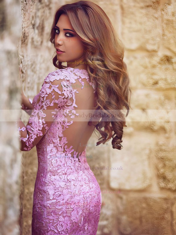 Trumpet/Mermaid Scoop Neck Tulle Sweep Train Appliques Lace Prom Dresses #LDB020101852
