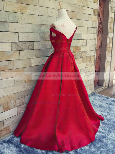 Ball Gown Off-the-shoulder Satin Sweep Train Sashes / Ribbons Prom Dresses #LDB020101855
