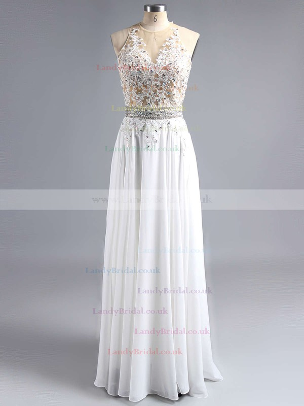 A-line Scoop Neck Chiffon Sweep Train Beading Prom Dresses #LDB020102042