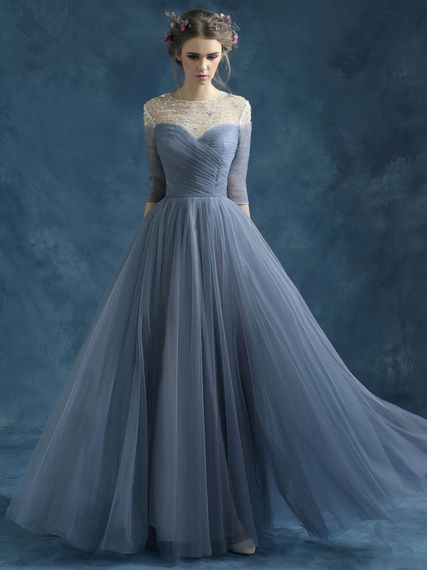 A-line Scoop Neck Tulle Floor-length Beading Prom Dresses #LDB020102046