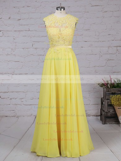 A-line Scoop Neck Chiffon Sweep Train Appliques Lace Prom Dresses #LDB020102057