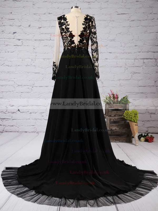 A-line Scoop Neck Chiffon Tulle Court Train Appliques Lace Prom Dresses #LDB020102059