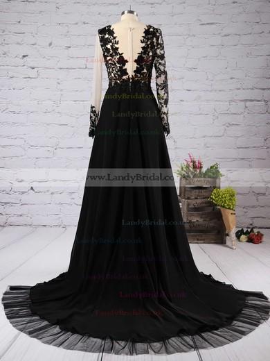 A-line Scoop Neck Chiffon Tulle Court Train Appliques Lace Prom Dresses #LDB020102059