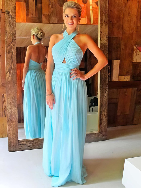 A-line Halter Chiffon Floor-length Ruffles Prom Dresses #LDB020102063