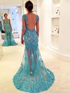 Trumpet/Mermaid V-neck Tulle Sweep Train Appliques Lace Prom Dresses #LDB020102064