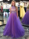 Princess High Neck Tulle Floor-length Beading Prom Dresses #LDB020102068