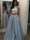 Princess Scoop Neck Satin Floor-length Pearl Detailing Prom Dresses #LDB020102075