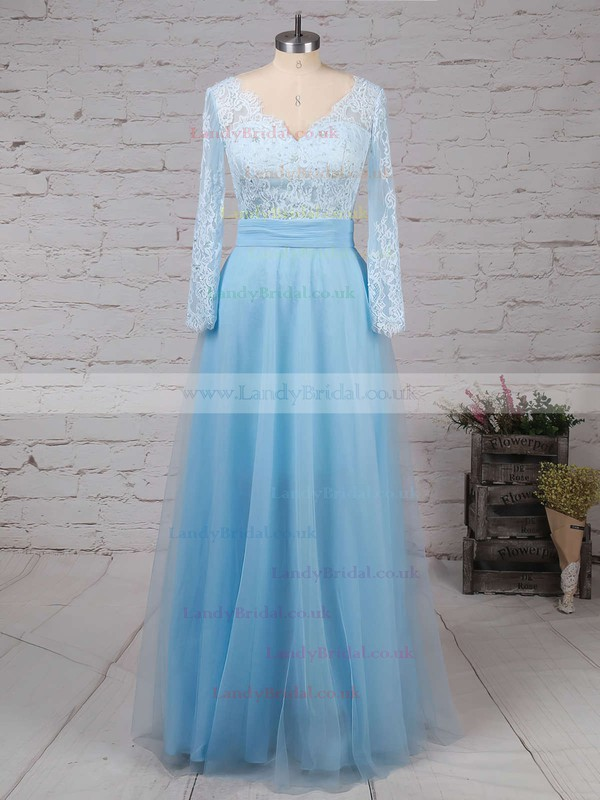 A-line V-neck Tulle Detachable Appliques Lace Prom Dresses #LDB020102076
