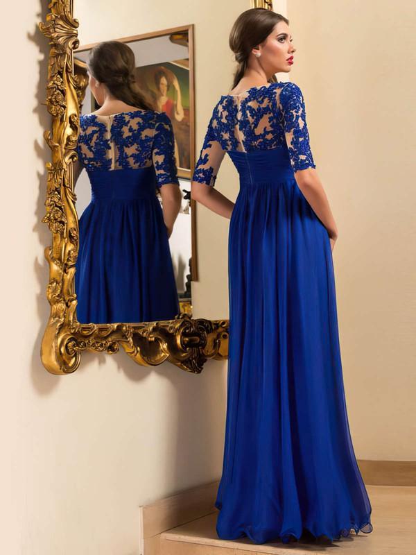 A-line Scoop Neck Chiffon Floor-length Appliques Lace Prom Dresses #LDB020102095