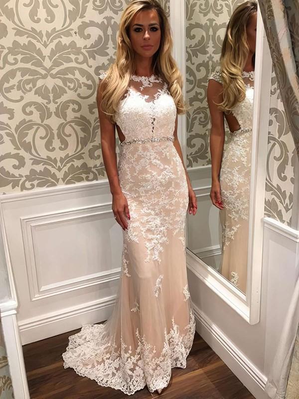 Trumpet/Mermaid Scoop Neck Tulle Sweep Train Beading Prom Dresses #LDB020102160