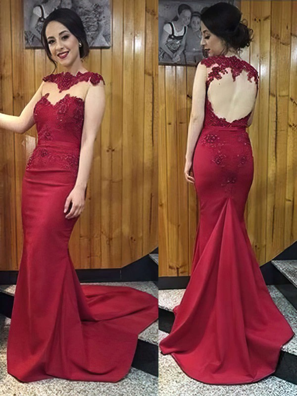 Trumpet/Mermaid Scoop Neck Silk-like Satin Sweep Train Appliques Lace Prom Dresses #LDB020102169