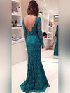 Trumpet/Mermaid Scoop Neck Lace Sweep Train Bow Prom Dresses #LDB020102175