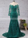 Trumpet/Mermaid Scoop Neck Lace Sweep Train Appliques Lace Prom Dresses #LDB020102176