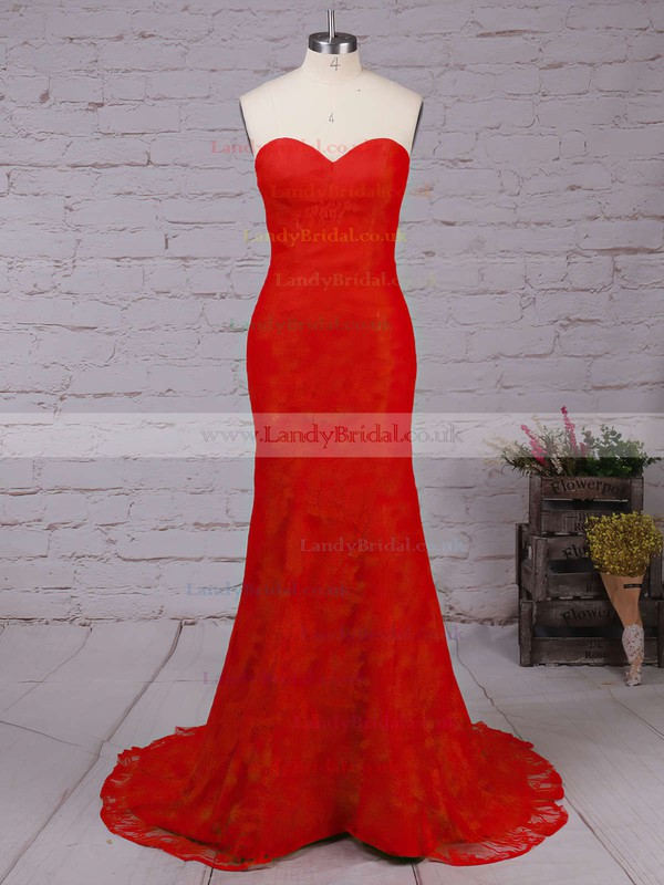 Trumpet/Mermaid Sweetheart Lace Sweep Train Prom Dresses #LDB020102187