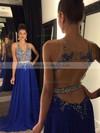 A-line Scoop Neck Chiffon Sweep Train Beading Prom Dresses #LDB020102188
