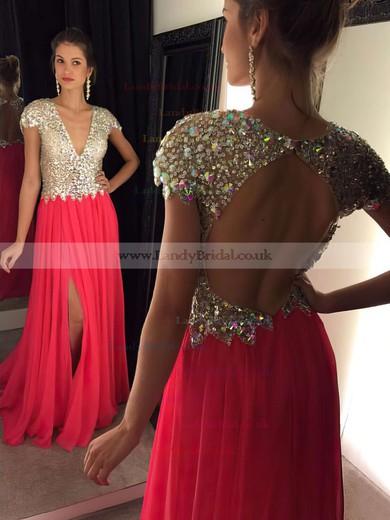 A-line V-neck Chiffon Sweep Train Split Front Prom Dresses #LDB020102202