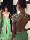 A-line V-neck Chiffon Sweep Train Split Front Prom Dresses #LDB020102202