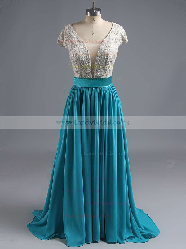A-line V-neck Lace Chiffon Floor-length Sequins Prom Dresses #LDB020102209