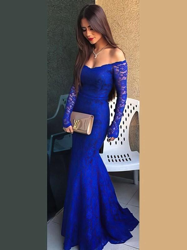 Trumpet/Mermaid Off-the-shoulder Lace Sweep Train Prom Dresses #LDB020102214