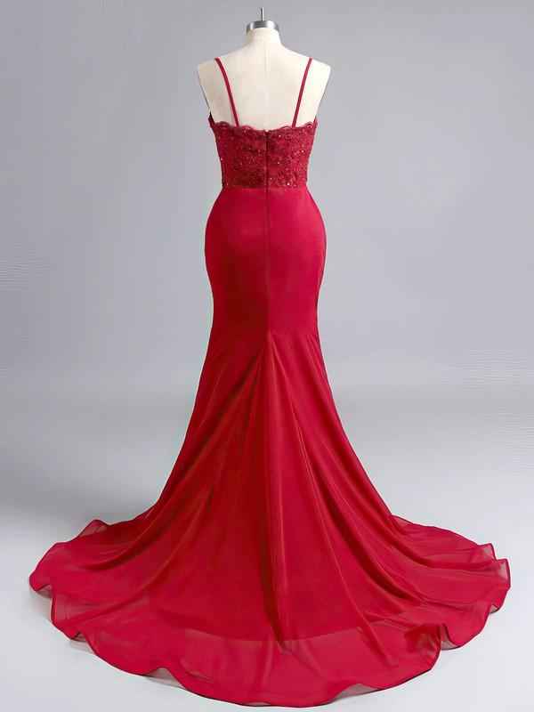 Trumpet/Mermaid Sweetheart Silk-like Satin Sweep Train Appliques Lace Prom Dresses #LDB020102223