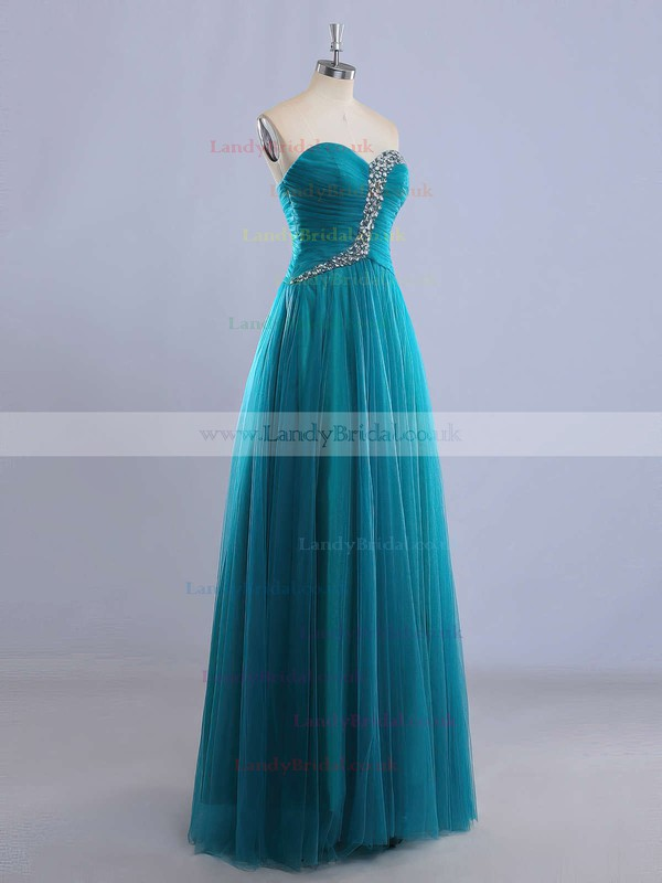 A-line Sweetheart Tulle Floor-length Beading Prom Dresses #LDB020102225
