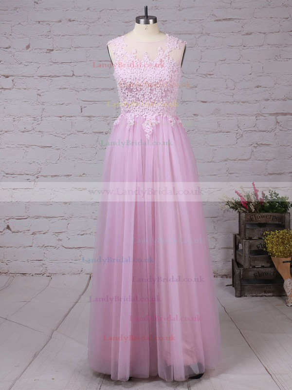 A-line Scoop Neck Tulle Floor-length Appliques Lace Prom Dresses #LDB020102317