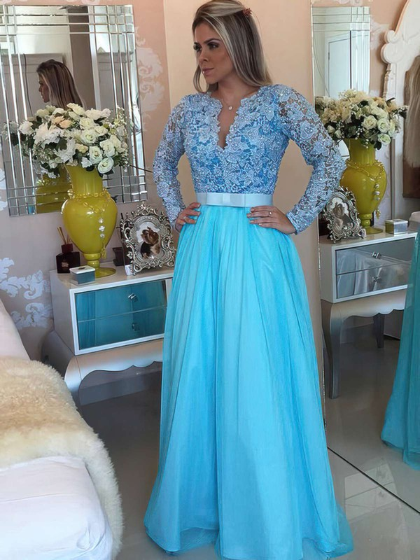 A-line V-neck Lace Chiffon Floor-length Sashes / Ribbons Prom Dresses #LDB020102323