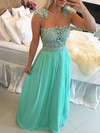 A-line Scoop Neck Chiffon Floor-length Beading Prom Dresses #LDB020102327