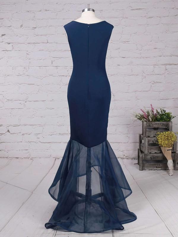 Trumpet/Mermaid Scoop Neck Silk-like Satin Asymmetrical Prom Dresses #LDB020102330