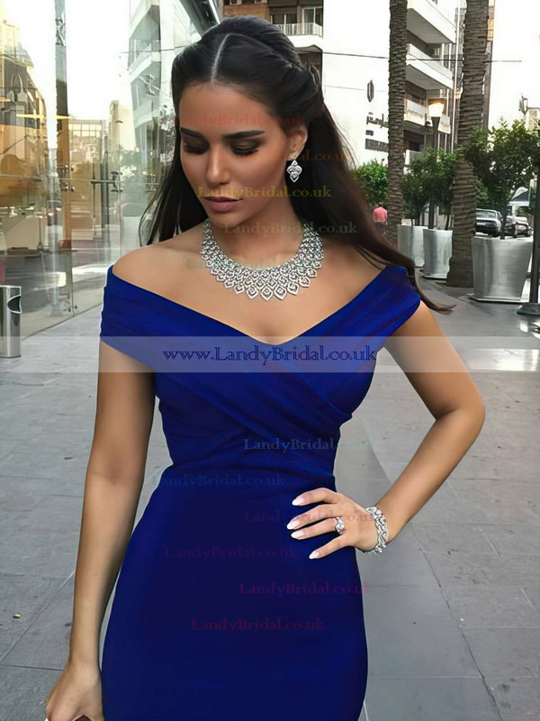 Trumpet/Mermaid Off-the-shoulder Satin Sweep Train Ruffles Prom Dresses #LDB020102331