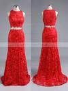Trumpet/Mermaid Scoop Neck Lace Sweep Train Appliques Lace Prom Dresses #LDB020102334