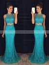 Trumpet/Mermaid Scoop Neck Lace Sweep Train Appliques Lace Prom Dresses #LDB020102334