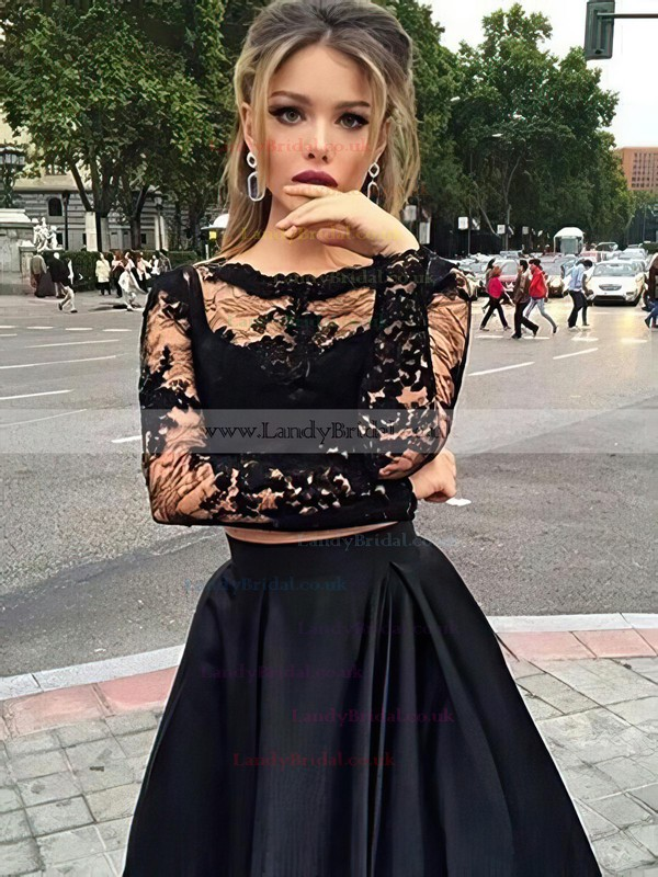 Princess Scoop Neck Lace Satin Floor-length Appliques Lace Prom Dresses #LDB020102335