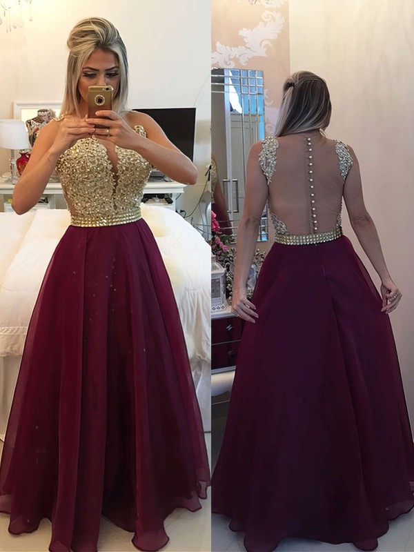 A-line Scoop Neck Chiffon Floor-length Beading Prom Dresses #LDB020102385