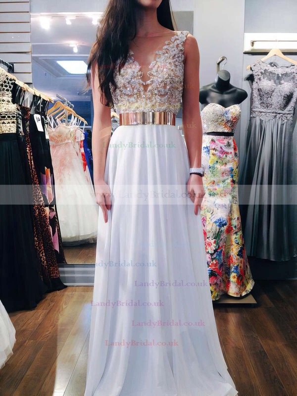 A-line Scoop Neck Chiffon Floor-length Beading Prom Dresses #LDB020102388