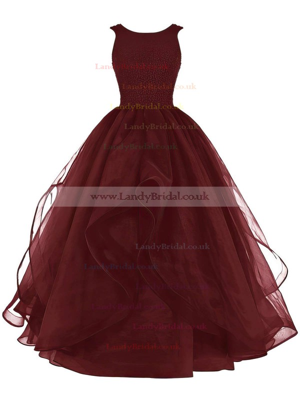 Ball Gown Scoop Neck Organza Floor-length Beading Prom Dresses #LDB020102390