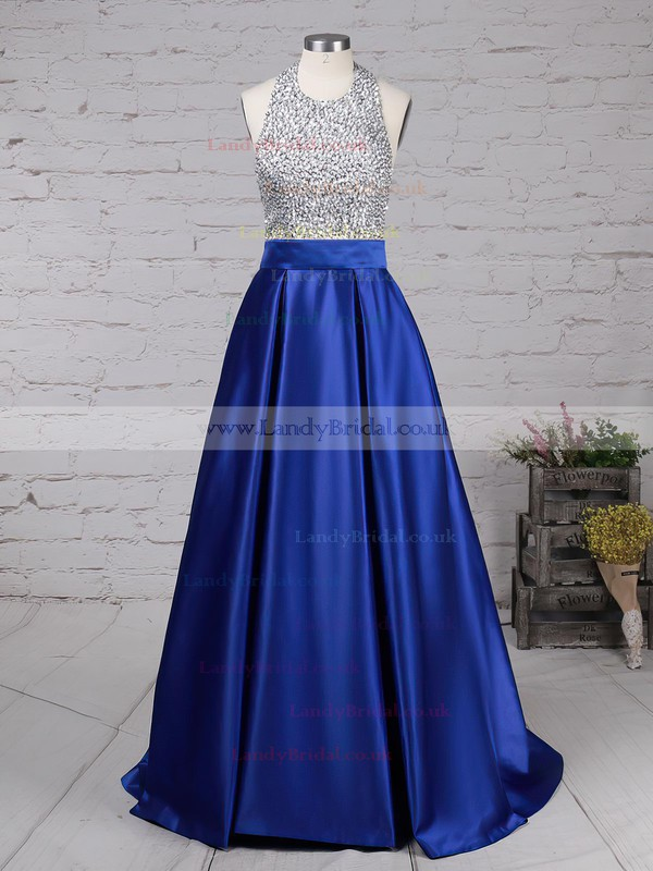 Ball Gown Halter Satin Floor-length Beading Prom Dresses #LDB020102391